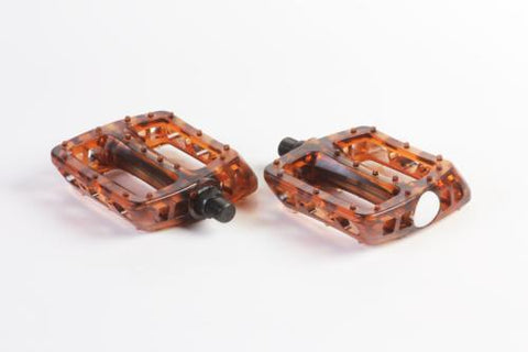 Odyssey BMX PC Plastic Pedals, Clear Brown