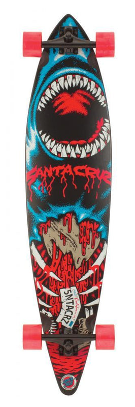 Santa Cruz Complete Longboard Shark Pintail, Red/Blue Skateboard Santa Cruz