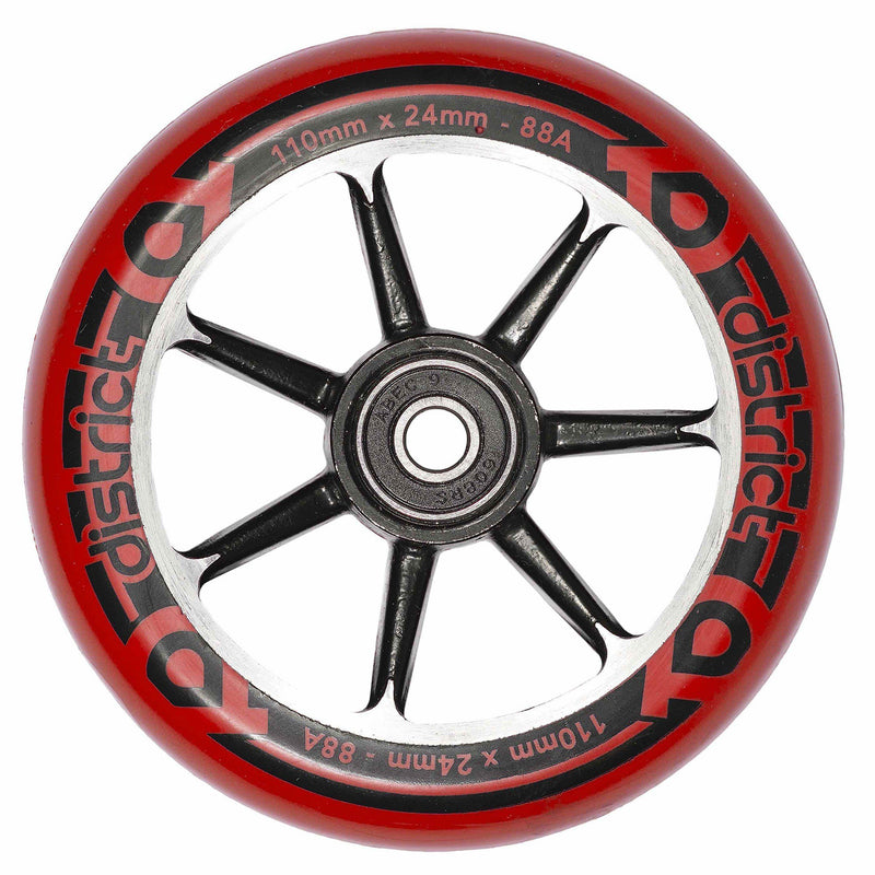 District Scooters Wheels Cast Alloy Core Twin Pack - 110mm Black/Red Stunt Scooter District