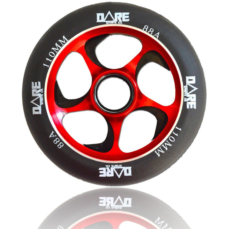 Dare Sports Swift Scooter Wheel 110mm, Black/Red Stunt Scooter Dare
