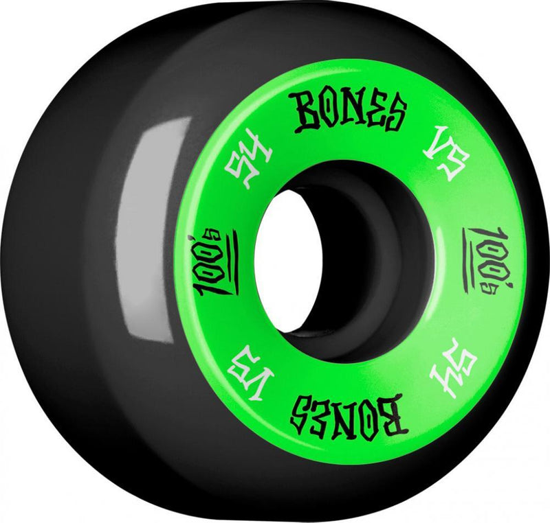 Bones Skateboard Wheels 54mm Black Wheels, 100's #1 V5 - Green Skateboard Wheels Bones