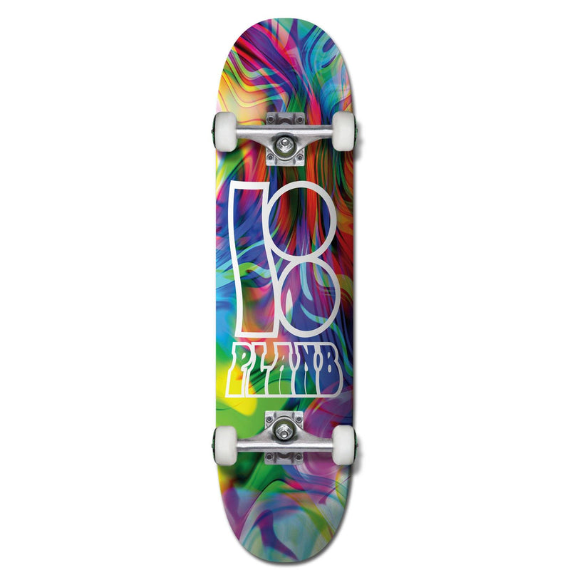 Plan B Skateboards Wavy Complete Skateboard 8.0, Rainbow complete skateboards Plan B