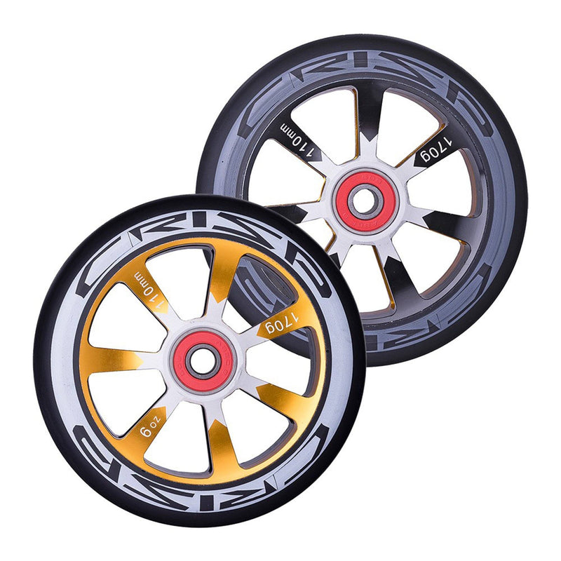 Crisp Scooters Hollowtech 110mm Stunt Scooter Wheels, Black/Gold Stunt Scooter Crisp