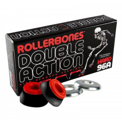 Rollerbones Skate Bushings Double Action 96A Hard, Black/Red