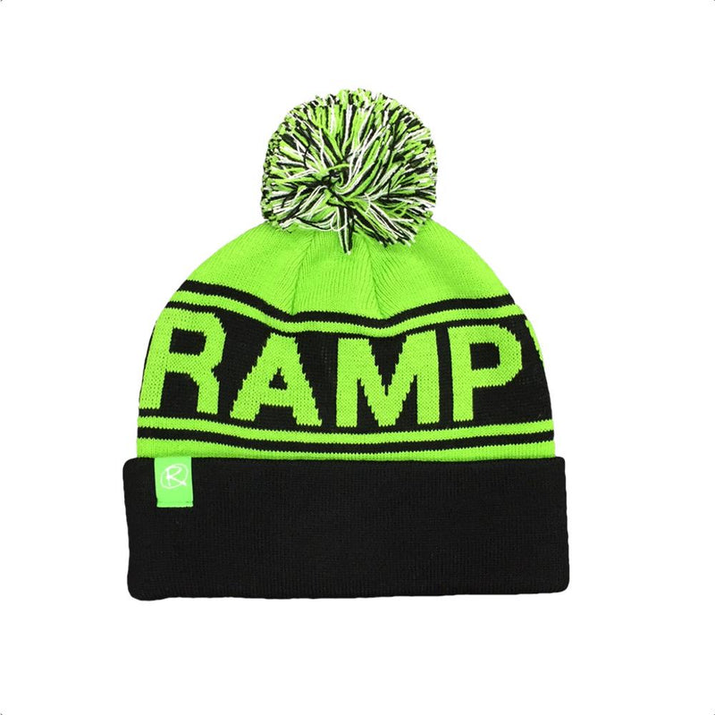 Rampworx Skatepark Bobble Hat, Green/Black Clothing Rampworx