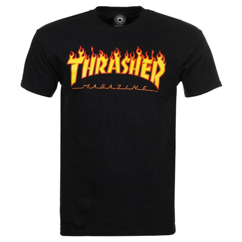 Thrasher Skateboard Magazine T-Shirt, Black/Flame