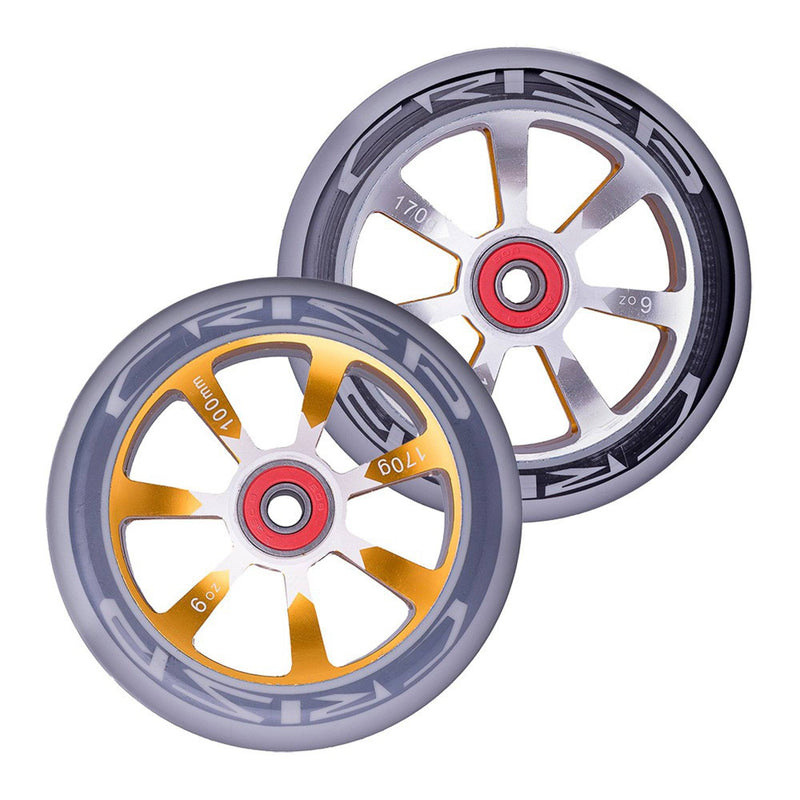 Crisp Scooters Hollowtech 100mm Stunt Scooter Wheels, Grey/Gold Stunt Scooter Crisp