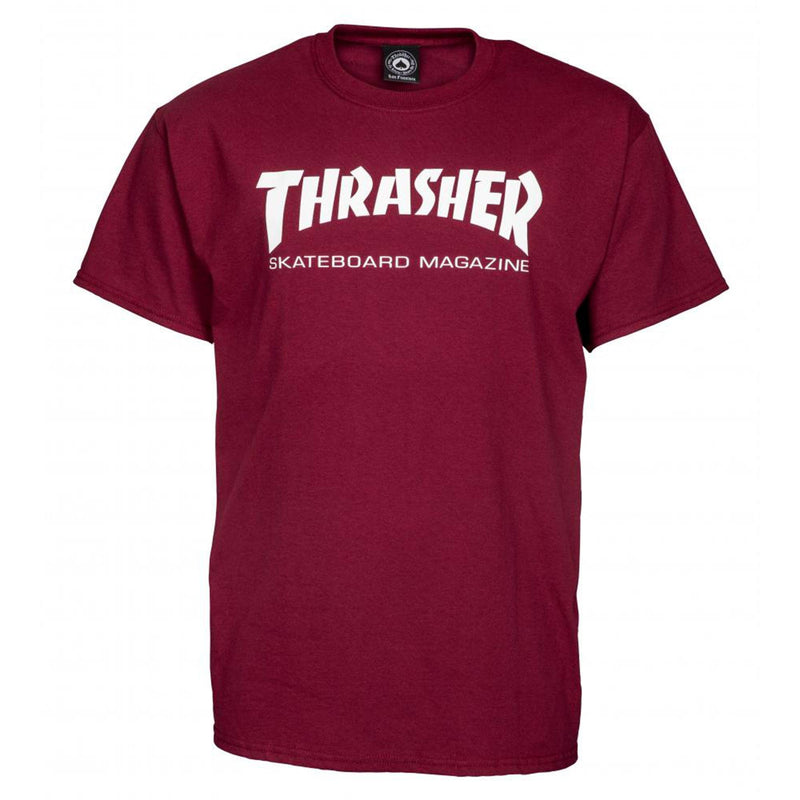 Thrasher Skateboard Magazine T-Shirt, Maroon Clothing Thrasher Large