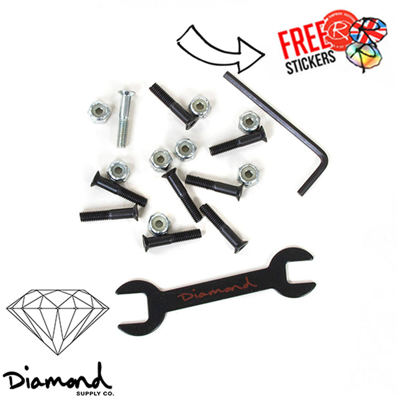 "Diamond Supply Co. Hardware Bolts 1"", Black Skateboard Diamond Supply Co"