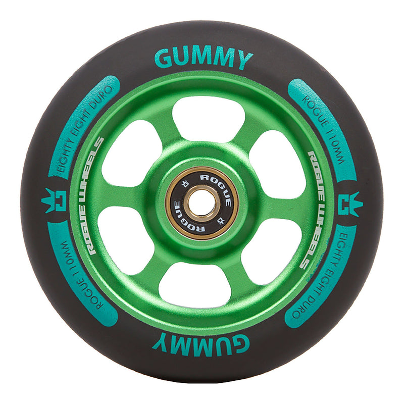 ROGUE Gummy Scooter Wheels (PAIR), Black/Green Stunt Scooter Rogue