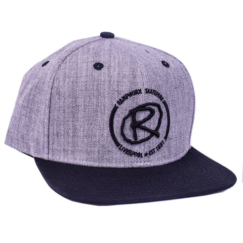 Rampworx Snapback Cap, Heather Grey/Black