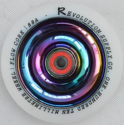 Revolution Scooter Full Core 110mm Wheel, White / Neo Chrome Stunt Scooter Revolution