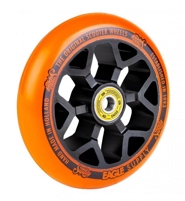 Eagle Supply 110mm Pro Stunt Scooter Wheel, Standard 6m Core - Black/Orange Scooter Wheels Eagle Supply Co