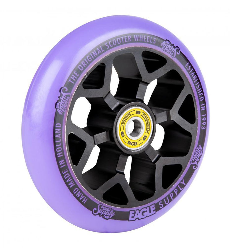 Eagle Supply 110mm Pro Stunt Scooter Wheel, Standard 6m Core - Black/Purple Scooter Wheels Eagle Supply Co