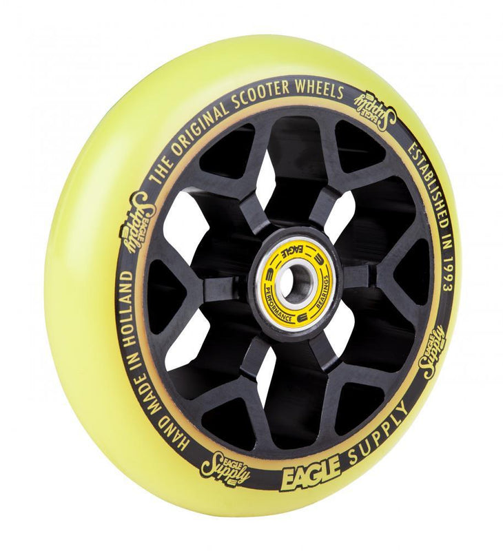 Eagle Supply 110mm Pro Stunt Scooter Wheel, Standard 6m Core - Black/Yellow Scooter Wheels Eagle Supply Co