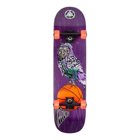 "Welcome Skateboards Hooter Shooter on Bunyip Complete Skateboard 8"", Purple Stain"