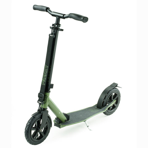 Frenzy Scooters 205mm Pneumatic Folding Scooter, Military Green
