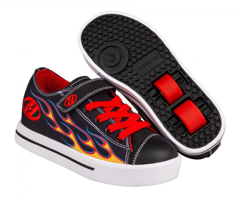 Heelys X2 Snazzy, Black/Yellow/Red Flame