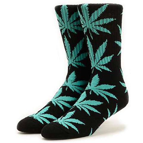 HUF Plantlife Leaf Weed Socks, Black/Green