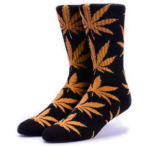 HUF Plantlife Leaf Weed Socks, Black/Orange