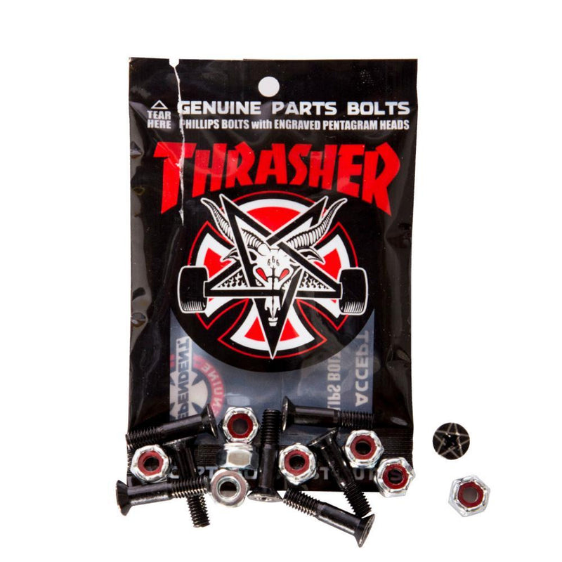 Independent Trucks Thrasher Skateboard Phillips Bolts, Black Skatebaord Parts Independent