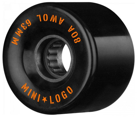 Mini Logo Cruiser / Penny Board Wheels 4 Pack - Black 63mm