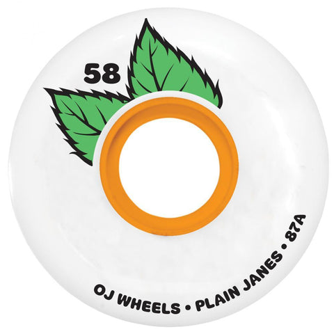 OJ Plain Jane Keyframe Soft Skateboard Wheels, White