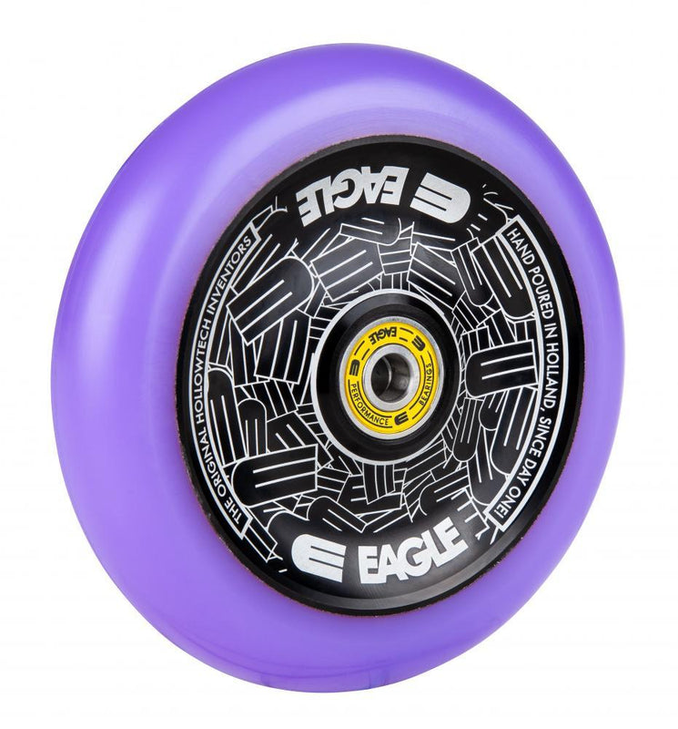 Eagle Supply 115mm Pro Stunt Scooter Wheels, Standard Hollowtech - Black/Purple Scooter Wheels Eagle Supply Co