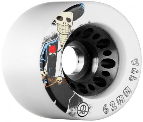 Rollerbones Quad Skate Wheels Day of the Dead 94a pk4 62mm, White
