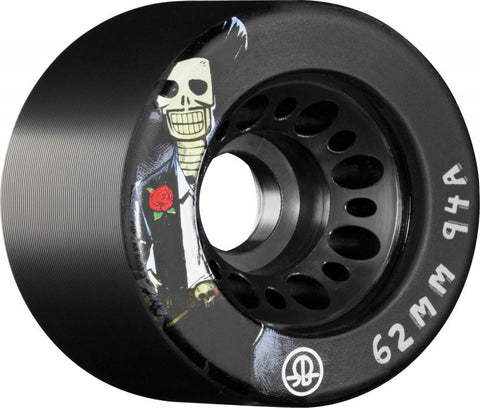 Rollerbones Quad Skate Wheels Day of the Dead 94a pk4, Black