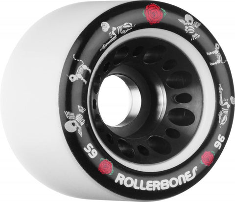 Rollerbones Quad Skate Wheels Pet Day of the Dead 59mm 96a pk4, White