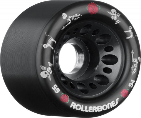 Rollerbones Quad Skate Wheels Pet Day of the Dead 59mm 94a pk4, Black
