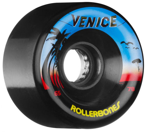 Rollerbones Quad Skate Wheels Venice Outdoor 80A (8pk), Black