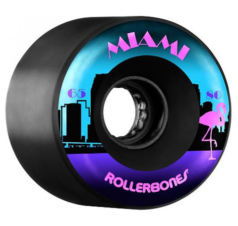 Rollerbones Quad Skate Wheels Miami Outdoor 80A (8pk), Black