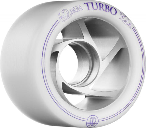 Rollerbones Quad Skate Wheels Turbo Aluminium 92a 62mm Right 4pk, White