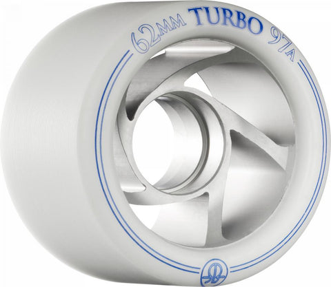 Rollerbones Quad Skate Wheels Turbo Speed/Derby Aluminium 62mm 97a 8pk, White/Blue