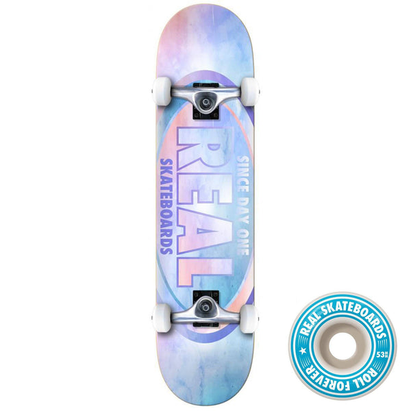 Real Skateboards Team Oval Complete Skateboards, Water Colour