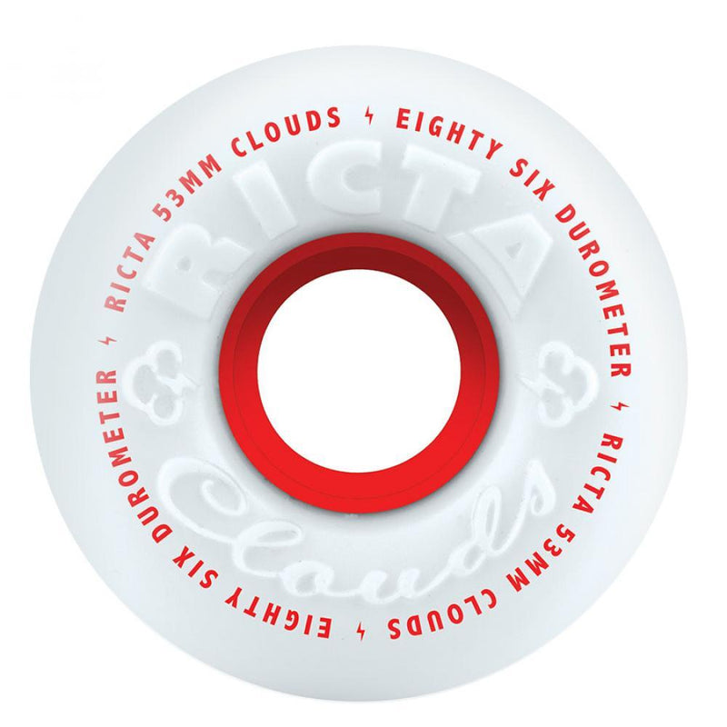 Ricta Clouds 86a White/Red Skateboard Wheels - 57mm Skateboard Wheels Ricta