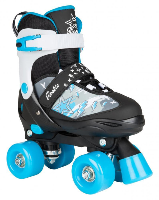 Rookie Adjustable Skate Ace Junior - Black/Blue Quad Roller Skates Rookie