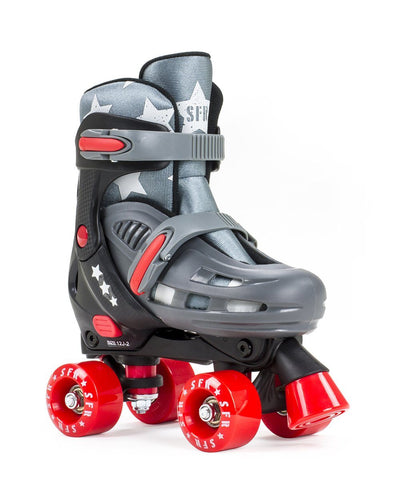 SFR Hurricane II Adjustable Kid Quad Skates - Grey/Red