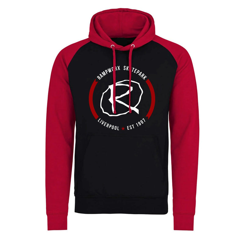 Rampworx Split Hoodie Crest - Red/Black Clothing Rampworx