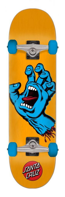 "Santa Cruz Skateboards Screaming Hand Complete Skateboard 7.5"" Orange Complete Skateboards Santa Cruz"