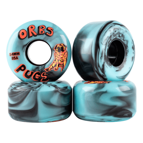 Orbs Pugs Conical 85A 54mm Skateboard Wheels, Black/Blue Split