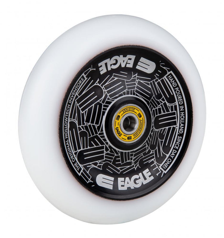 Eagle Supply 115mm Pro Stunt Scooter Wheel, Standard Hollowtech - Black/White Scooter Wheels Eagle Supply Co