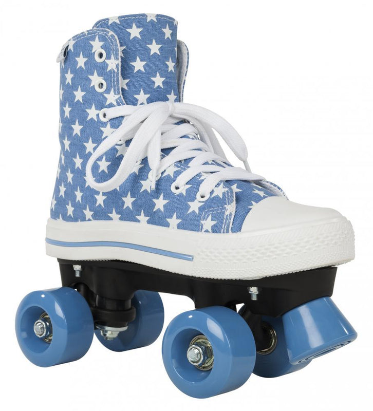 Rookie Rollerskates Canvas High, Stars Blue/White Quad Skates Rookie UK6/EU39.5/US7