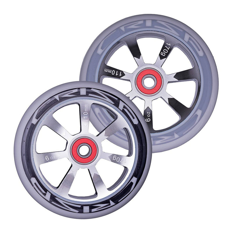 Crisp Scooters Hollowtech 110mm Stunt Scooter Wheels, Grey/Black Stunt Scooter Crisp