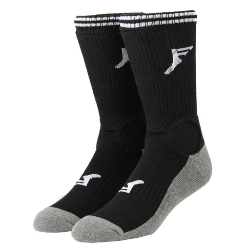 Footprint Insoles Shin/Ankle Guard Socks, Black