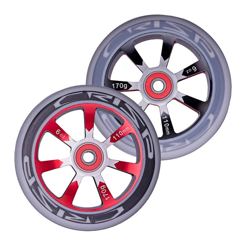 Crisp Scooters Hollowtech 110mm Stunt Scooter Wheels, Grey/Red Stunt Scooter Crisp