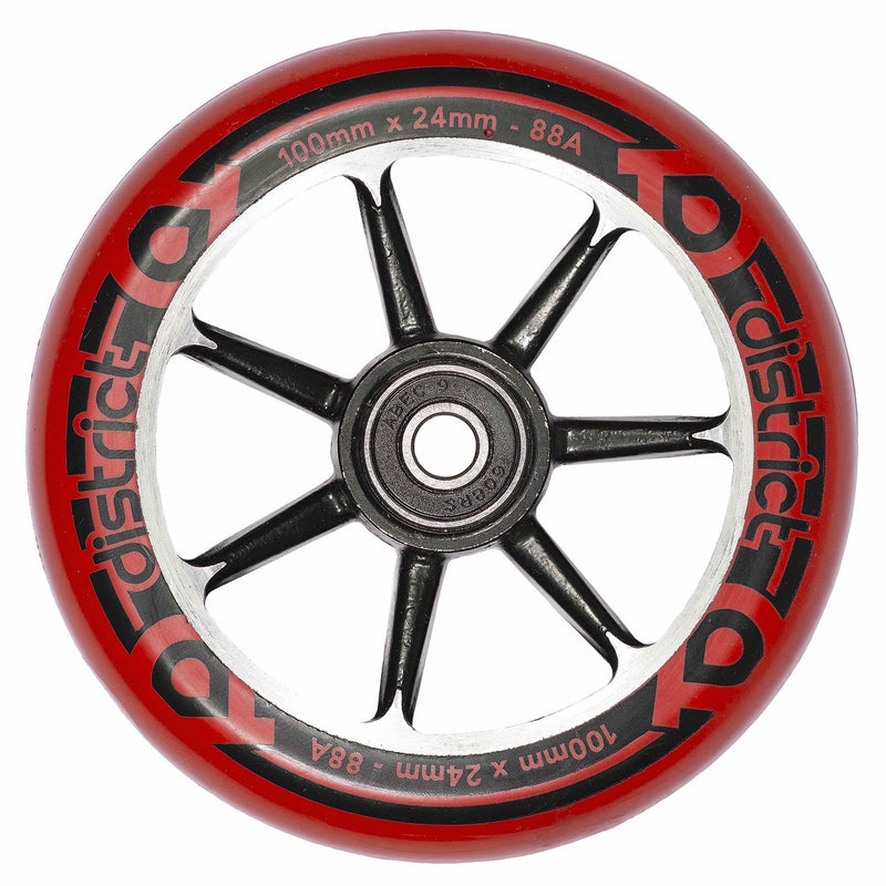 District Scooters Wheels Cast Alloy Core Twin Pack - 100mm Black/Red Stunt Scooter District