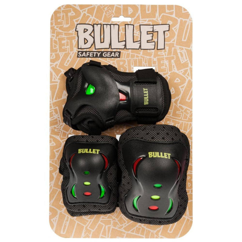 Bullet Triple Skate Pad Set, Rasta Protection Bullet M JR
